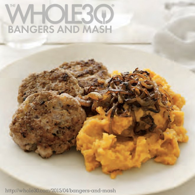 Banger Sausage Patties with Sweet Potato Mash and Caramelized Onions