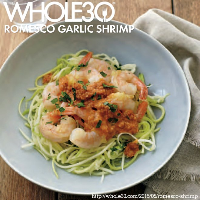 Recipe from the new Whole30 book: Romesco Garlic Shrimp