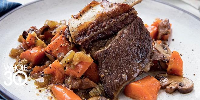 Whole30 Braised Beef Short Ribs with Porcini Mushroom Sauce