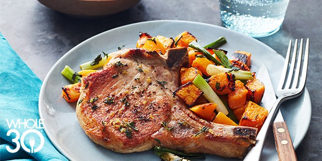 Whole30 Pork Chops and Squash over Green Onions