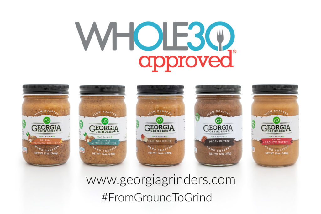 Whole30 Approved logo above 5 Georgia Grinders assortment of nut butters