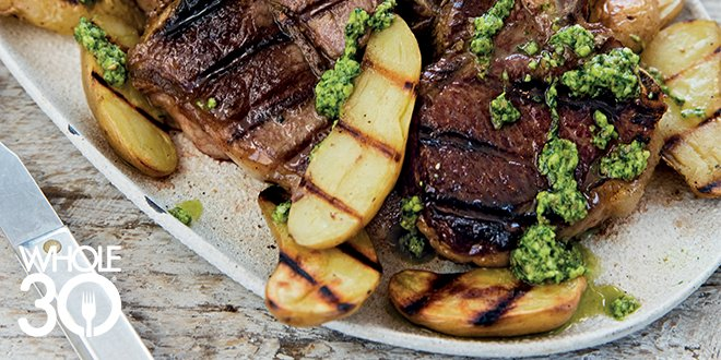 Whole30 Lamb Chops and Fingerlings with Arugula Pesto from Cooking Whole30