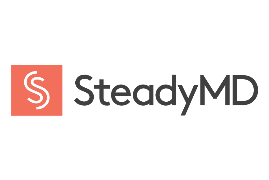 SteadyMD in black text on white background with coral S logo