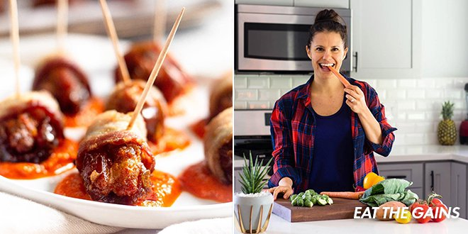 Whole30 Memorial Day Recipes for Bacon Wrapped Chorizo Stuffed Dates by Eat The Gains