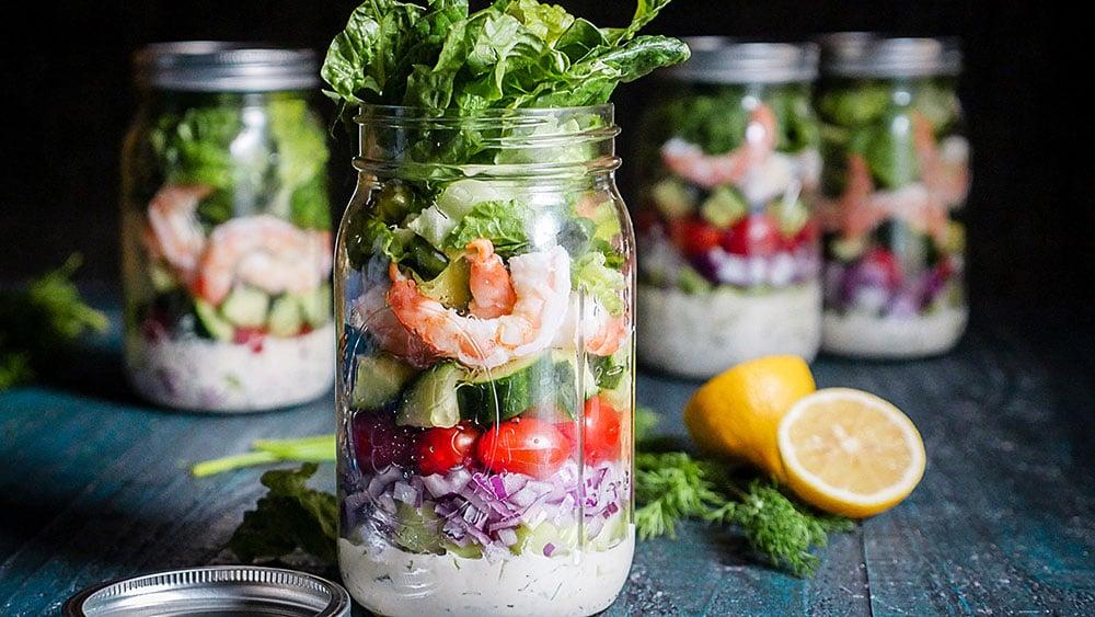 Lemon dill shrimp salad in a ball jar