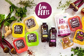 Love Beets logo and assortment of products
