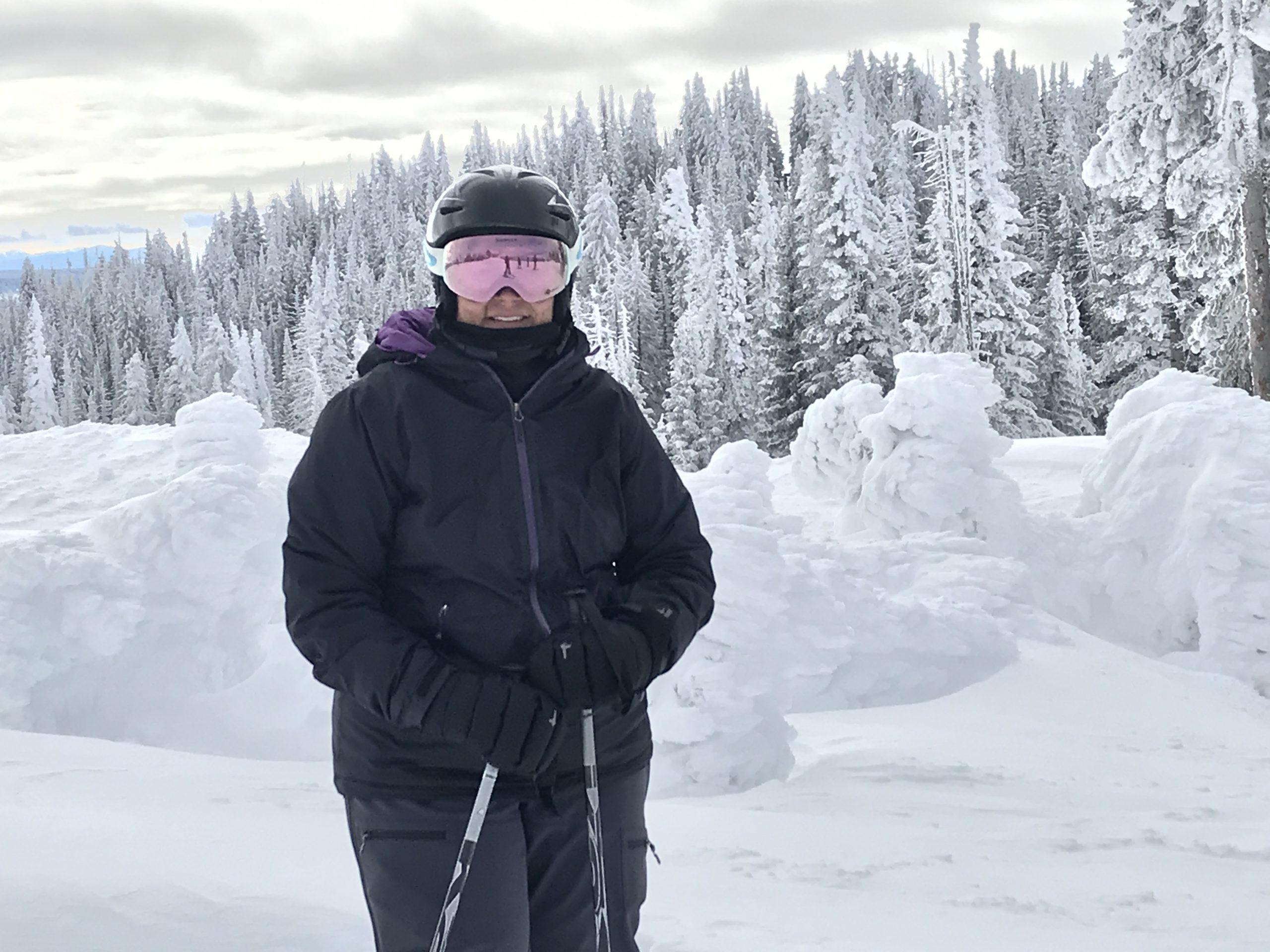 Jennifer Riley with skis