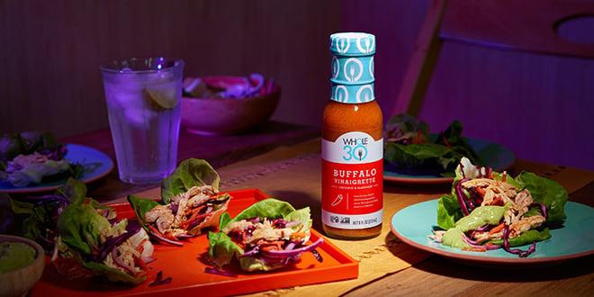 Buffalo Vinaigrette Whole30 Buffalo Chicken Tacos with Avocado Crema HERO