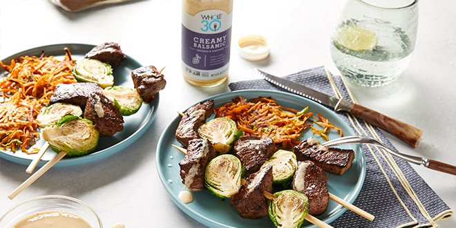 Creamy Balsamic Whole30 Beef and Brussels Kebabs HERO