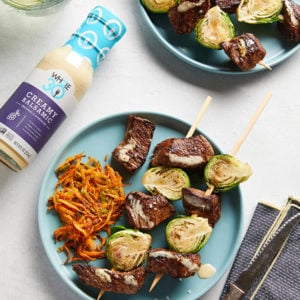 Creamy Balsamic Whole30 Beef and Brussels Kebabs SQUARE