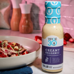 Creamy Balsamic Whole30 Strawberry and Rhubarb Salad SQUARE