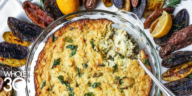 Whole30 Hot Artichoke-Parsley Dip with Roasted Fingerling Dippers