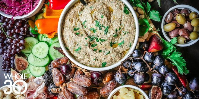 Whole30 Charcuterie Board Platter Fruit Baba Ganoush Dip Tray Party