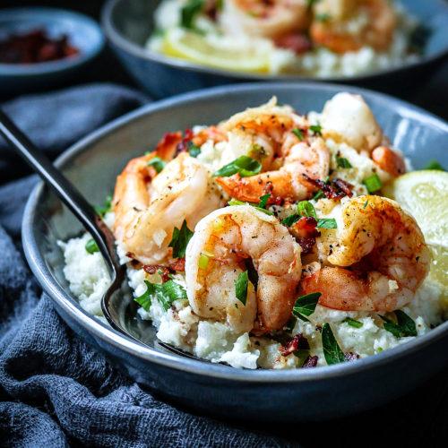 Shrimp over Cauliflower Grits