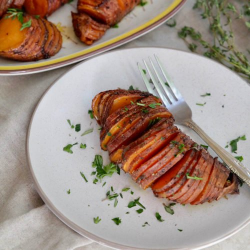 Whole30 Hasselback Sweet Potatoes Thanksgiving Holidays Side Dish