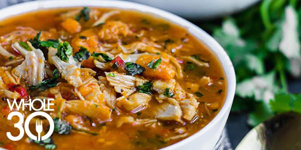 Salsa chicken stew in a bowl