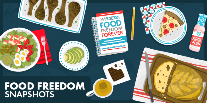 Food Freedom Snapshots text in bottom left with illustrations of a salad, chicken wings, pizza, coffee, chocolate, bread