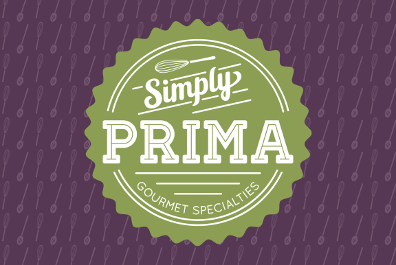 Simply Prima green logo with purple background