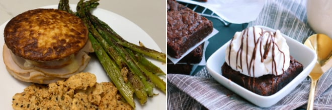 The left side of the picture shows John's recipe for Chicken Milanese, plated with asparagus and cauliflower. The right side of the picture shows Autumn's fudgy chocolate brownies topped with vanilla coconut milk ice cream.